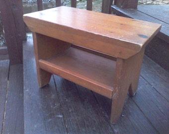 Foot stool, Step stool, Primitive handmade,cabin decor, foot rest, Rustic step stool
