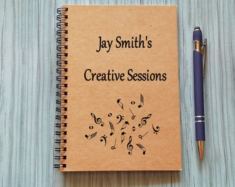 Music Notebook - [Custom Name]'s Creative Sessions - 5 x 7 Journal, Musician Notebook, Songwriter Journal, Personalized Journal