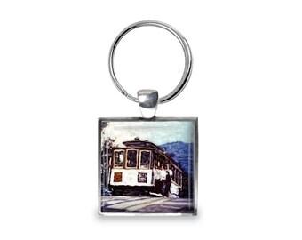 San Francisco Cable Car - Glass Photo Keychain - Handmade