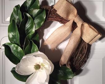 Magnolia wreath, Grapevine wreath, Christmas wreath, Holiday wreath, wreath