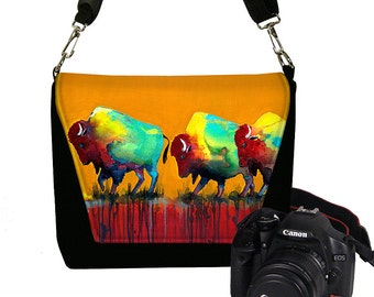 Clara Nilles Dslr Camera Bag Cool Buffalo Digital SLR Messenger Bag Padded  Bison unique orange red turquoise yellow MTO