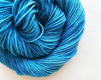 BREEZE hand dyed yarn fingering sock dk bulky yarn super wash merino wool yarn single or ply. choose your base. pale sea blue yarn