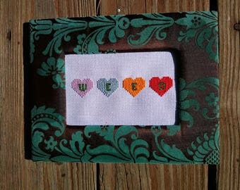 Weed with hearts framed cross stitch