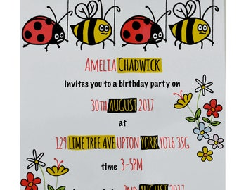 PERSONALISED 'Print your own' Girls Party Invites