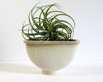 Vintage Ceramic Footed Vase - Nils Thorsson Aluminia Fish Vase - Royal Copenhagen Denmark Danish Art Pottery - Mid Century Modern Home Decor