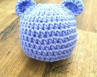 Lilac Bear Baby hat, Newborn photography prop, baby shower, New baby gift, Christmas gift, winter hat