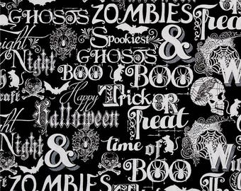 Metallic Halloween Words on Black from Henry Glass's Fright Night Collection by First Blush Studios