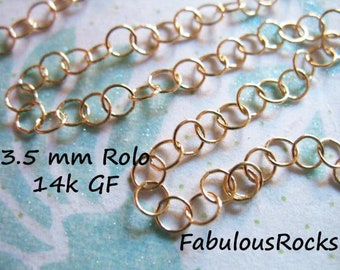 3 feet Bulk, 14k Gold Filled Chain, 3.5 mm  ROLO Chain, Necklace Chain Extender Chain Brac3let Chain Wholesale Bulk unfinished mmgf mgf9