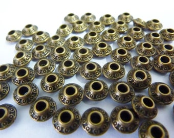 30 spacer beads, Ø6mm, round, bronze