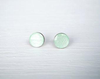 Mint Wood and Resin Stud Earrings