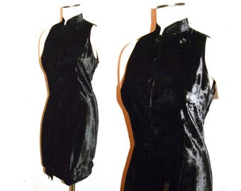 1980s 90s Black Rayon Velvet Fitted Dress / TUNIC Vest / Lace Up Back & Button Front / Vintage size 8 - Fits SMALL