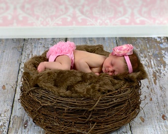 SET Chocolate Faux Fur, Wood Branch Nest, Owl Nest, Bird Nest, Newborn Nest, Newborn Photography, Photo Prop