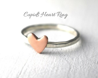Love Ring, Cupid Heart Ring, Copper Heart Ring, Sterling Ring, Sweetheart Ring, Ring Stacking, Stack Band, Rose Heart, Silver Heart Ring