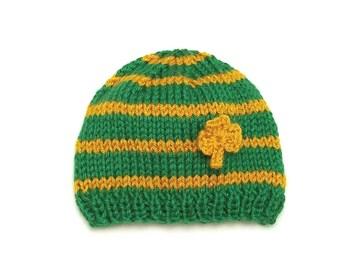 Shamrock Hat • Shamrock Baby Hat • Green and Gold Baby Hat • Shamrock Newborn Hat • St Patrick's Day Newborn PhotoProp • Irish Baby Hat