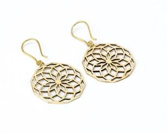 Sacred Geometry Brass Earrings handmade,Yoga Earrings with hooks, Nickel Free, Yoga Jewellery, Gift boxed,Free UK post BG11