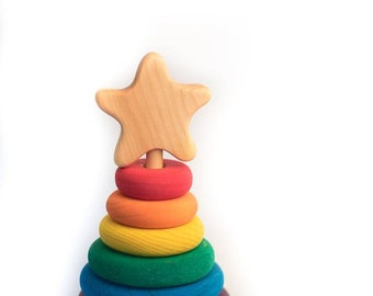 Wooden rainbow stacker, wooden toy by Atelier Cheval de bois