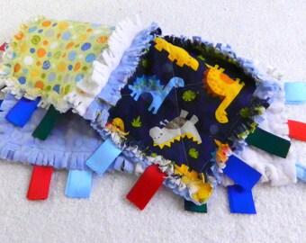 Dinosaur Tag Ribbon Rag Lovey - Blanket Blanket