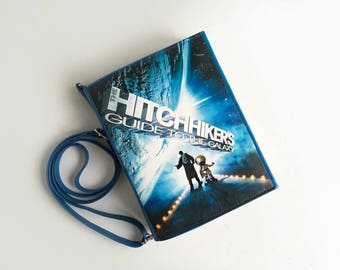 The Hitchhiker's Guide to the Galaxy Book Purse Black Leather Book Bag
