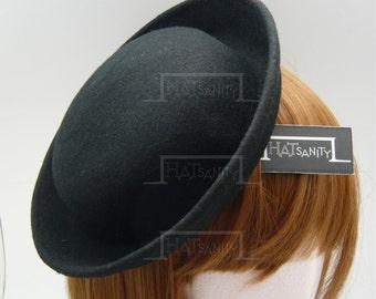 TRENDY Fashion Plain Wool Felt Miniature Bowler Hat Fascinator - Black