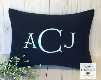 Embroidered Monogram Pillow Cover. Dorm Decor. Graduation Gift. Made to fit a 12x16 Decorative Throw Pillow insert. Baby Gift. Mr Darcy font