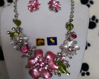 Pink Flower Art Deco Statement Necklace and Earring Set