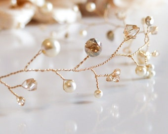 gold hair vine, wedding hair vine, bridal haire vine, hair accessory, wedding hair accessory, gold hair accessory, gold headband wedding