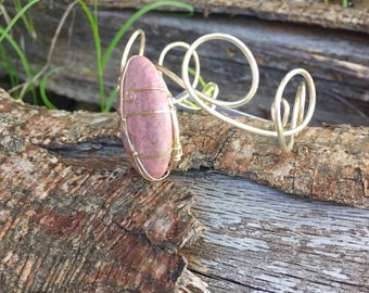 Sterling Silver Cuff Bracelet with Rhodonite Stone ~ Heart Chakra ~ Inner Growth ~ Calming
