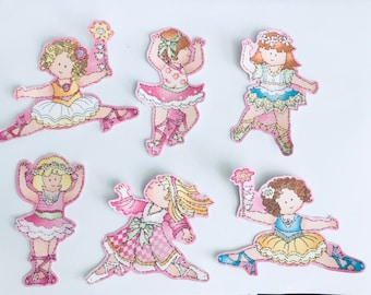 Cutie Ballerinas - Iron On Fabric Appliques - Patches