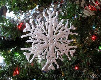 Hand Crocheted True Love Snowflake Ornament | Christmas Ornament | Snowflake Ornament | Ornament | Holiday Ornament