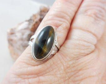 Brown Tiger  Eye Sterling Silver Ring