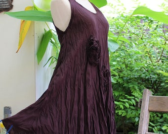 Sleeveless Roomy A-Shape Top/ Short Tunic - Choc Brown
