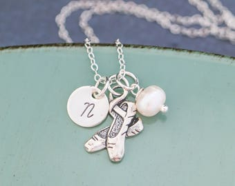 Ballet Necklace Ballerina Gift Ballet Jewelry Ballerina Recital Gift • Performance Sterling Silver Ballet Slipper Charm Toe Shoes