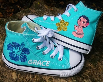 Moana Converse, Personalized Aqua Shoes, Baby Moana, Glitter Sparkle, Name Sneakers, Toddler Girls