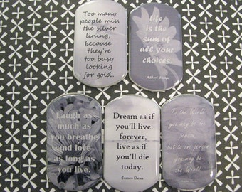 SOFT SENTIMENTS II - Quotes In Black & White Handcrafted Necklace, Key Chain Or Rear View Mirror Charm - Gift Idea, Stocking Stuffer