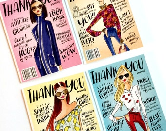 Thank you cards, Thank you stationary, Fashion cards, fashion stationary, chic cards, note cards, blank cards, illustration cards