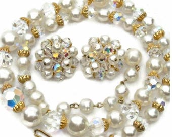 Baroque Pearl and Crystals Necklace and Earring Set Aurora Borealis Finish