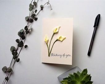Thinking of you Card - curved calla lilies - with sympathy card, bereavement card, get well soon card