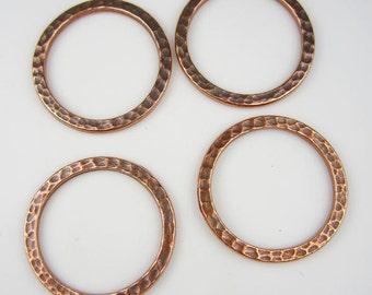 4 Antique Copper Tierracast 1Inch Hammertone Rings