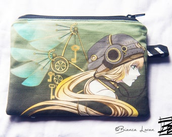 Feathers of Time Zippered Pouch - Coin Purse Wallet - steampunk anime girl artwork - Bianca Loran Art