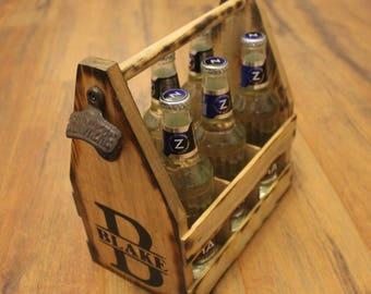 MONOGRAM LETTER Rustic Wood Beer Tote - Beer Carrier - Beer Caddy - Man Cave - Brewery - Personalized - Bottle Opener - Bottle Tote