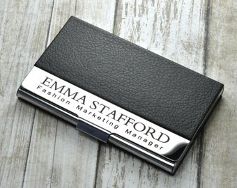Personalized business card holder etsy personalized business card holder colourmoves