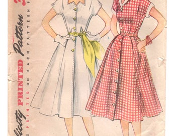 "1950's Simplicity One-Piece Afternoon Dress with Zig Zag Collar or Shirt Collar pattern - Bust 33"" - No. 3878"