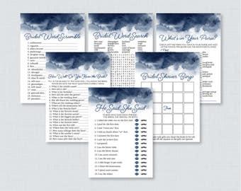 Navy Watercolor Bridal Shower Games Package with Six Games- Printable Navy Blue Watercolor Bridal Shower Games - He Said, Bingo, etc 0030-N