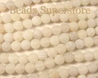10 mm White Frosted Crackle Agate Semi-Precious Gemstone Round Bead - FULL Strand (GBR35)