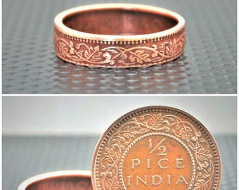 Dusky Rose Wreath Coin Ring,India-British Coin,Rose Ring,Coin Ring,Bronze Ring,Unique BoHo Ring,Dainty Ring,Womens Coin Ring,8th Anniversary