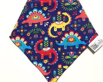 dinosaur baby bib, dino baby bib, folk art dinosaur baby bandana bib