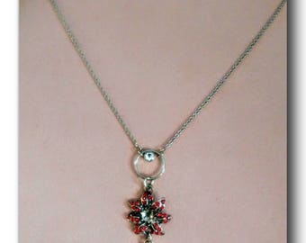 "Silver Plated Charm Necklace.""First Shinning Love"" ruby swarovski element, flower charm, eternity circle charm, fun, 24 inch,delicate, gift."