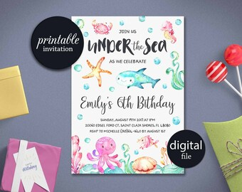 Under the sea invite etsy under the sea birthday invitation printable under the sea invitation beach first birthday invitation filmwisefo Images