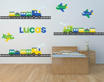Train Decal- Name Decal - Train Wall Decal -Nursery Wall Decal- Transportation Decal - Boy Wall Decal - Personalized Name Decal - Wall Decal