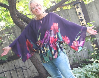 upcycled top S - M upcycled clothing . kimono sleeve tunic . purple rain